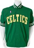 Basketball Collectibles:Uniforms, 1986-88 Dennis Johnson Game Worn Signed Boston Celtics Warm UpJacket....