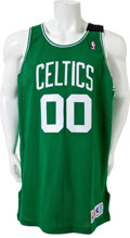 Basketball Collectibles:Uniforms, 1993-94 Robert Parish Game Worn Signed Boston Celtics Jersey - WithReggie Lewis Memorial Swatch....