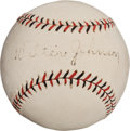Autographs:Baseballs, 1920's Walter Johnson Single Signed Baseball....