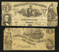 Confederate Notes:1861 Issues, T37 $5 1861 PF-1 Cr. 284;. T44 $1 1862 PF-1 Cr. 339.. ... (Total: 2 notes)