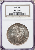 Morgan Dollars: , 1886 $1 MS63 Prooflike NGC. NGC Census: (317/419). PCGS Population(266/379). Numismedia Wsl. Price for problem free NGC/P...