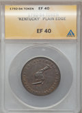 Colonials: , (1792-94) TOKEN Kentucky Token, Plain Edge XF40 ANACS. NGC Census:(10/89). PCGS Population (21/276). (#614). From The ...