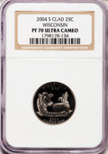 Proof Statehood Quarters, 2004-S 25C Wisconsin Clad PR70 Ultra Cameo NGC. NGC Census: (1089).PCGS Population (237). Numismedia Wsl. Price for probl...