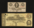 Confederate Notes:1863 Issues, T60 $5 1863. T63 50 Cents 1863.. ... (Total: 2 notes)