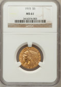 Indian Half Eagles: , 1915 $5 MS61 NGC. NGC Census: (1424/2721). PCGS Population(521/2514). Mintage: 588,075. Numismedia Wsl. Price for problem ...
