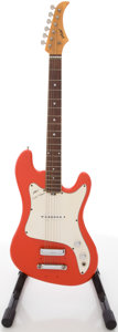 Musical Instruments:Electric Guitars, 1960's Vox Super Meteor Red Solid Body Electric Guitar, #250817....