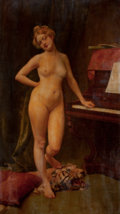 Pin-up and Glamour Art, AMERICAN ARTIST (20th Century). Standing Nude. Oil oncanvas. 86 x 46.5 in.. Not signed. ...
