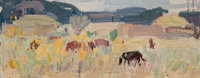 LEON GASPARD (American, 1882-1964) Taos Corral, circa 1919 Oil on canvas laid on board 5-1/2 x 14