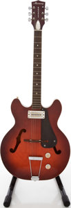 Musical Instruments:Electric Guitars, 1960's Harmony Rocket Redburst Semi-Hollow Body Electric Guitar....