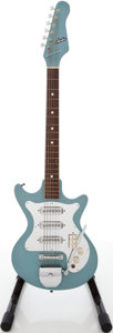 Musical Instruments:Electric Guitars, 1960's Andre Teisco Daphne Blue Solid Body Electric Guitar....