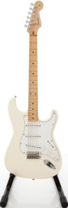 Musical Instruments:Electric Guitars, Circa 1980's Squier by Fender Stratocaster White Solid BodyElectric Guitar, #SQ53555....