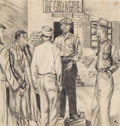 Mainstream Illustration, Attributed to AMOS SEWELL (American, 1901-1983). The GreengateBus Depot, 1958. Charcoal on paper. 16 x 15 in.. Initiale...