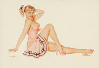 ALBERTO VARGAS (American, 1896-1982) Blonde in Pink, playing card pin-up, circa 1940s Pencil and wat