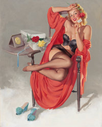 GIL ELVGREN (American, 1914-1980) American Beauties (I Hope He Mrs. Me), 1949 Oil on canvas 30 x