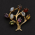 Estate Jewelry:Brooches - Pins, Multi-Color Gemstone Gold Pin. ...