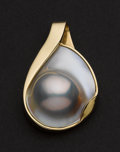 Estate Jewelry:Pendants and Lockets, Blister Pearl Gold Pendant. ...