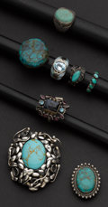 Estate Jewelry:Other , Six Turquoise Rings & One Bolo & One Pin/Pendant. ...(Total: 8 Items)
