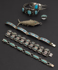Estate Jewelry:Lots, Turquoise One Ring, Five Bracelets & One Fish Pendant. ...(Total: 7 Items)