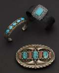 Estate Jewelry:Other , Two Turquoise Sterling Bracelets & One Bolo. ... (Total: 3Items)