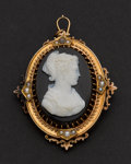 Estate Jewelry:Cameos, Very Fine Gold Hard Stone Cameo With Pearls. ...