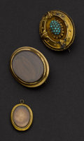 Estate Jewelry:Brooches - Pins, Three Victorian Mourning Pins/Drop. ... (Total: 3 Items)