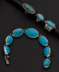 Estate Jewelry:Lots, Silver & Turquoise Jewelry Lot. ... (Total: 4 Items)