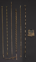 """Timepieces:Watch Chains & Fobs, Six Gold Filled Chains & One """"CAT"""" Fob. ... (Total: 7 Items)"""