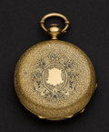 Timepieces:Pocket (pre 1900) , Swiss 18k Gold & Enamel Hunter's Case Pocket Watch. ...