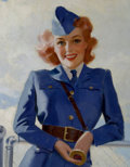 Pin-up and Glamour Art, AMERICAN ARTIST (20th Century). Airline Model. Oil on canvaslaid on board. 13.75 x 10.75 in.. Not signed. From the ...