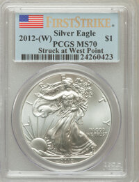 2012(-W) $1 Struck at West Point Silver Eagle, First Strike MS70 PCGS. PCGS Population (12942). NGC Census: (0). (#50981...