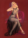 Pin-up and Glamour Art, JULES ERBIT (American, 1889-1968). Seated Pin-Up in PurpleChair. Pastel on board. 37 x 28.5 in.. Signed lower left. ...