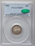 Seated Dimes, 1886 10C MS65+ PCGS. CAC....