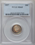 Seated Dimes, 1857 10C MS65 PCGS....