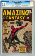 Silver Age (1956-1969):Superhero, Amazing Fantasy #15 (Marvel, 1962) CGC GD/VG 3.0 Cream to off-whitepages....