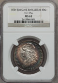 Bust Half Dollars, 1834 50C Small Date, Small Letters MS62 NGC. O-115a, R.4....