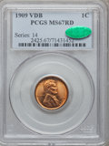 Lincoln Cents, 1909 VDB 1C MS67 Red PCGS. CAC....