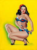 Pin-up and Glamour Art, PETER DRIBEN (American, 1902-1968). Pin-Up in a Bikini, BeautyParade magazine cover, October 1947. Acrylic on board. 34...