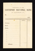 National Bank Notes:Connecticut, Southport, CT - The Southport NB Ch. #660 Deposit Slips Two Examples. ... (Total: 2 items)