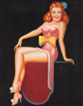 Pin-up and Glamour Art, IRV WYNER (American, 1904-2002). Pin-Up with Yellow Bow.Acrylic on board. 26 x 22 in.. Signed center right. ...