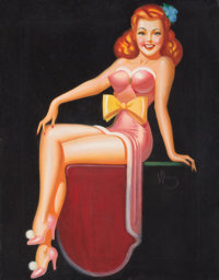 IRV WYNER (American, 1904-2002) Pin-Up with Yellow Bow Acrylic on board 26 x 22 in. Signed cen