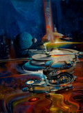 Pulp, Pulp-like, Digests, and Paperback Art, JOHN CONRAD BERKEY (American, 1932-2008). Unpublished spaceillustration. Acrylic on board. 24 x 18 in.. Signed lower ri...