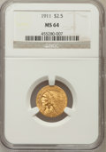 Indian Quarter Eagles: , 1911 $2 1/2 MS64 NGC. NGC Census: (1253/182). PCGS Population(664/92). Mintage: 704,000. Numismedia Wsl. Price for problem...