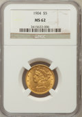 Liberty Half Eagles: , 1904 $5 MS62 NGC. NGC Census: (1374/1210). PCGS Population(781/840). Mintage: 392,000. Numismedia Wsl. Price for problem f...