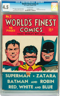 World's Finest Comics #2 (DC, 1941) CGC VG+ 4.5 Off-white pages