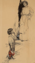Mainstream Illustration, FRANK EARLE SCHOONOVER (American, 1877-1972). Mother and Son onDoorstep. Conte crayon on board. 19 x 10.75 in.. Signed ...