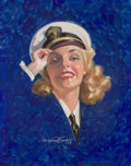 Pin-up and Glamour Art, BRADSHAW CRANDELL (American, 1896-1966). Navy Girl. Pastelon board. 27.5 x 22 in.. Signed lower center. ...
