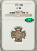 Barber Dimes: , 1897-O 10C XF40 NGC. CAC. NGC Census: (6/58). PCGS Population(8/95). Mintage: 666,000. Numismedia Wsl. Price for problem f...