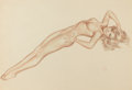 Pin-up and Glamour Art, ALBERTO VARGAS (American, 1896-1982). Untitled Nude, circa1940s. Watercolor and pencil on paper. 18.5 x 27 in.. Signed ...