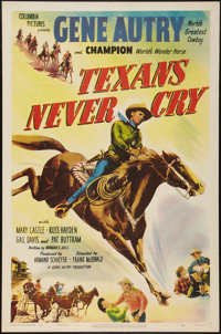 "Texans Never Cry (Columbia, 1951). One Sheet (27"" X 41""). Western"