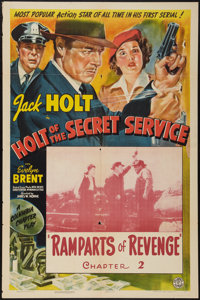 """Holt of the Secret Service (Columbia, 1941). One Sheet (27"""" X 41"""") Chapter 2 -- """"Ramparts of Revenge.&quo..."""